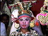 A little boy taking the role of King Nagula in Mahabharata